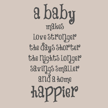 Sweetumswalldecals A Baby Makes a Home Happier Wall Decal Color: Dark Gray