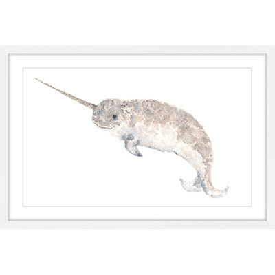Marmont Hill Inc Marmont Hill - 'Narwhal' by Thimble Sparrow Framed Painting Print