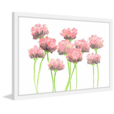 Marmont Hill Inc Marmont Hill - 'Pink Poppies' by Thimble Sparrow Framed Painting Print
