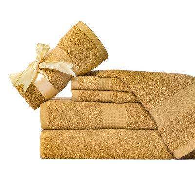 Aspire Linens Supersoft 6 Piece Towel Set Color: Gold Tan