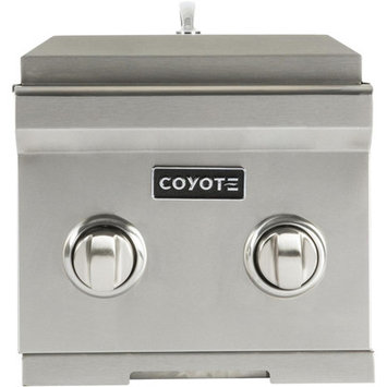 Coyote C1DBLP 12 Inch Built-in Double Side Burner with 2 15,000-BTU Brass Burners, Stainless Steel Body and Stainless Steel Lid: Liquid Propane