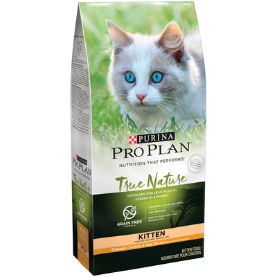 Purina Pro Plan True Nature Kitten Grain Free Formula Natural Chicken & Egg Recipe Kitten Food 3.2 lb. Bag