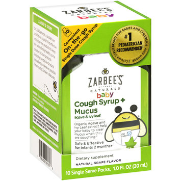 Zarbee's Naturals Baby Cough Syrup + Mucus On-the-Go, Natural Grape Flavor 10 ct Box