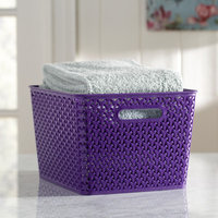 Wayfair Basics Plastic Storage Bin Size: Large, Color: Purple