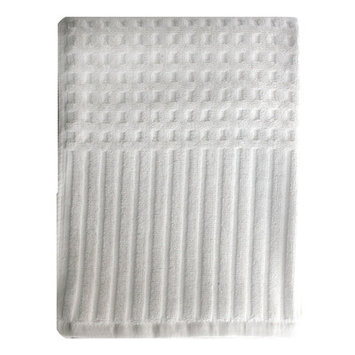 Homewear Linens City Stripe Honeycomb Bath Towel Color: White