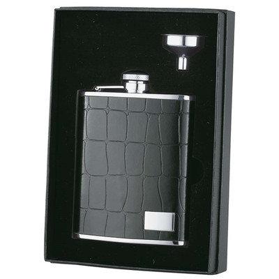 Visol 'Beau Monde' Alligator Pattern Leather Flask Gift Set, 6-Ounce