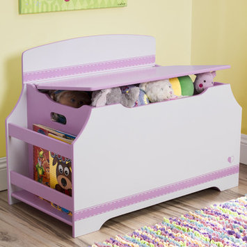 Delta Children Jack & Jill Deluxe Toy Box with Book Rack, Pink/White