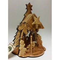 Earthwoodllc Olive Wood Tree-shaped Nativity Music Box