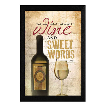 Trendy Decor 4u 'Wine and Sweet Words' by Marla Rae Framed Vintage Advertisement