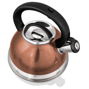 Imperial Home Stainless Steel Whistling Tea Kettle - 2.8 L Encapsulated Tea Maker Pot Silver