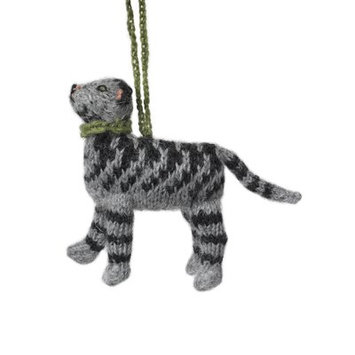 Arcadia Home Hand Knit Tabby Cat Hanging Figurine Christmas Ornament (Set of 2)