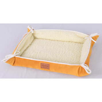 Lindsey Home Fashion Faux Lamb Fur Magic Dog Bed Color: Yellow
