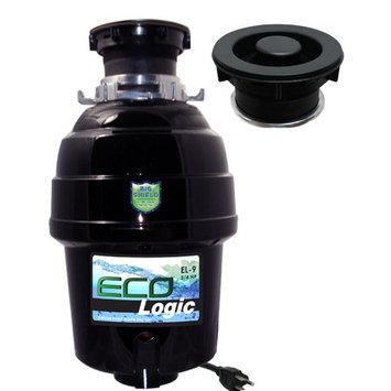 Joneca Corporation 3/4 HP Eco-Logic 9 Deluxe Designer Series Food Waste Disposer (3-Bolt) with Black Sink Flange