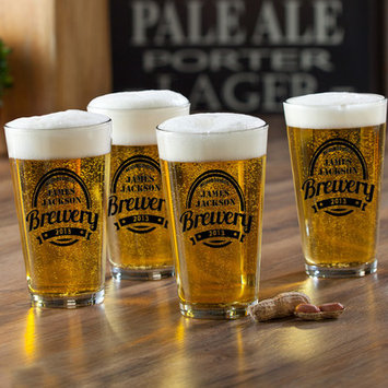 Jds Personalized Gifts Brewery Personalized 16 oz. Pub Glass