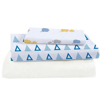 Pure Fiber 3 Piece Viscose Rayon from Bamboo Triangles Crib Sheet Set Color: Blue