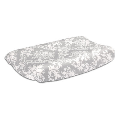 The Peanut Shell® Damask Changing Pad Cover in Grey