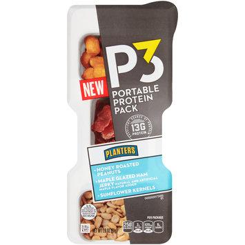 P3 Honey Roasted Peanuts, Maple Glazed Ham Jerky & Sunflower Kernels Portable Protein Pack 1.8 oz. Tray