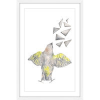 Marmont Hill Inc Marmont Hill - 'Bird with Shapes' by Thimble Sparrow Framed Painting Print