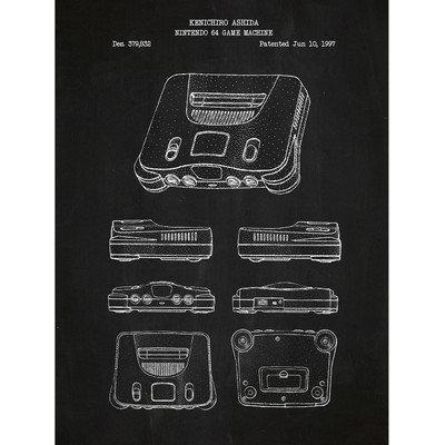 Inked And Screened Gaming 'Nintendo 64 Game Machine' Silk Screen Print Graphic Art in Chalkboard/White Ink