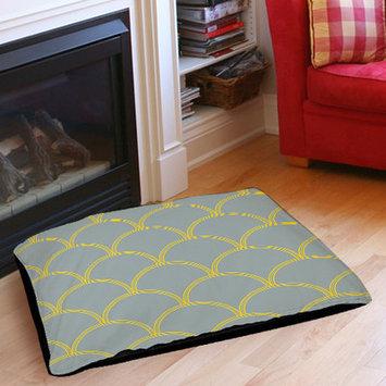 Mercury Row Archey Art Deco Circles Pet Bed Color: Slate / Yellow, Size: 40