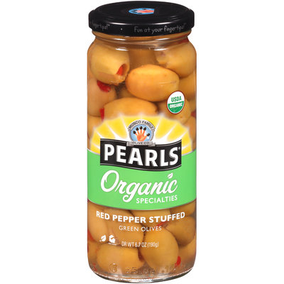 Pearls® Organic Specialties™ Red Pepper Stuffed Green Olives 6.7 oz. Jar