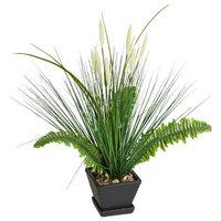 Winston Porter Onion Floor Foliage Faux Grass in Pot