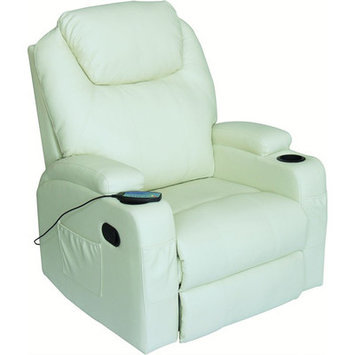 Newacme Llc NEW Modern Electric Recliner Wall Leather Lounge Executive Chair Furniture 8031 White