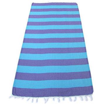 Red Pomegranate 100% Turkish Cotton Pestemal Beach Towel Color: Purple/Blue