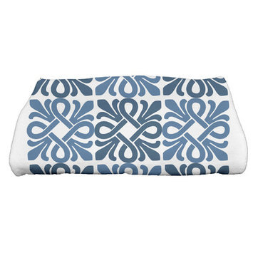 Red Barrel Studio Tiki Square Geometric Print Bath Towel Color: Blue