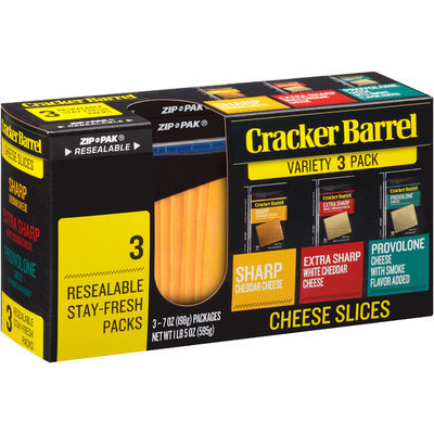 Cracker Barrel Sharp Cheddar/Extra Sharp White Cheddar/Provolone Cheese Slices Variety Pack 3-7 oz. ZIP-PAKs®