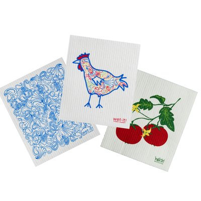 August Grove 3 Piece Paisley Chicken Cotton Cleaning Dishcloth Set
