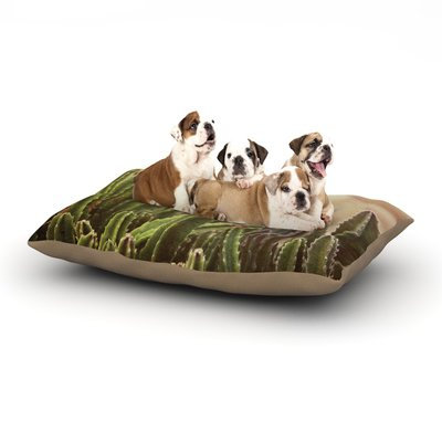 East Urban Home Jillian Audrey 'Green Grass Cactus' Dog Pillow with Fleece Cozy Top Size: Large (50