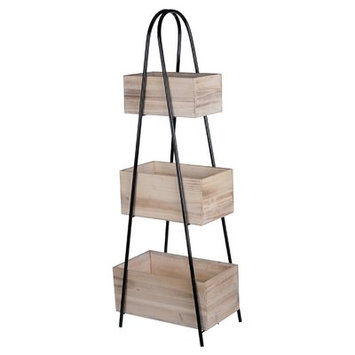 Trio Triangle Storage Stand With Wood Boxes - A & b Home, Washed Wood