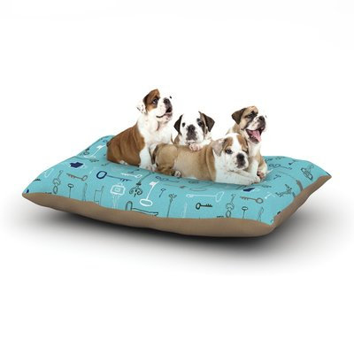 East Urban Home Laurie Baars 'Keys' Dog Pillow with Fleece Cozy Top Color: Blue/Aqua, Size: Large (50