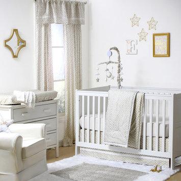 The Peanut Shell® Confetti Chevron 4-Piece Crib Bedding Set in White/Gold