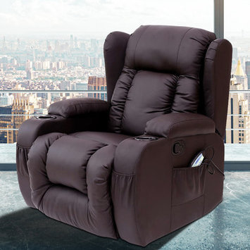 Pdaeinc Idaho Heated Vibrating Massage Recliner Color: Brown