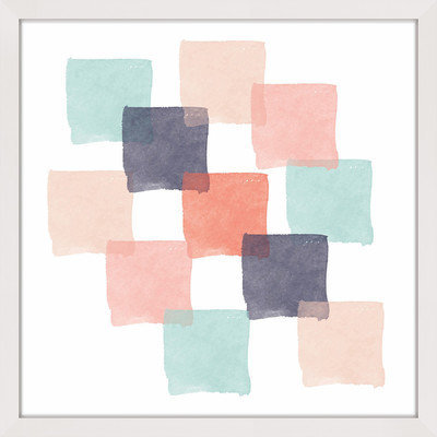 Marmont Hill Inc Marmont Hill - 'Watercolor Squares' by Shayna Pitch Framed Painting Print
