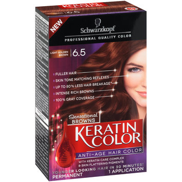 Schwarzkopf Keratin Color Sensational Browns Anti-Age Hair Color 6.5 Light Golden Brown 6 pc Kit