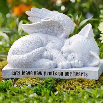 Wind & Weather Cat Angel Memorial Statue, 10 L x 6 W x 7 H