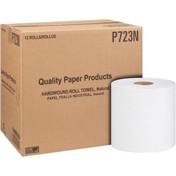 Quality Paper Products Natural Hardwound Roll Towels 12 ct Box