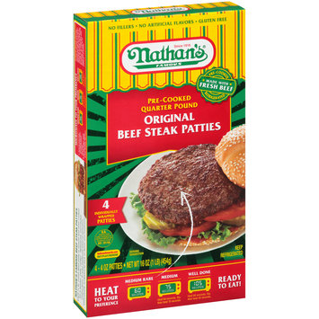 Nathan's® Famous Original Pre-Cooked Quarter Pound Beef Steak Patties 4-4 oz. Box