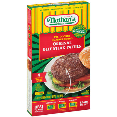 Nathan's® Famous Original Pre-Cooked Quarter Pound Beef Steak Patties 4-4 oz. Box