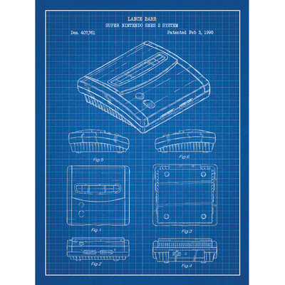 Inked And Screened Gaming 'Super Nintendo SNES 2 System' Silk Screen Print Graphic Art in Blue Grid/White Ink
