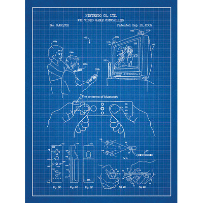 Inked And Screened Gaming 'WII VIDEO' Silk Screen Print Graphic Art in Blue Grid/White Ink