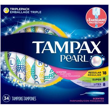 Tampax® Pearl® Triplepack Scented Plastic Tampon Variety Pack 34 ct Box