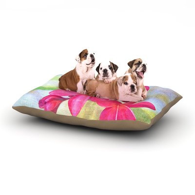 East Urban Home Sylvia Cook 'Plumeria' Flower Petals Dog Pillow with Fleece Cozy Top Size: Small (40