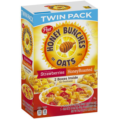 Post® Honey Bunches of Oats® Crunchy HoneyRoasted & with Real Strawberries Cereal Variety Pack 2 ct Box