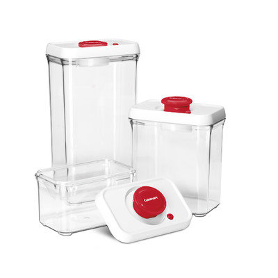 Cuisinart 3-Piece Fresh Edge Vacuum-Seal Food Storage Container Set Color: Red