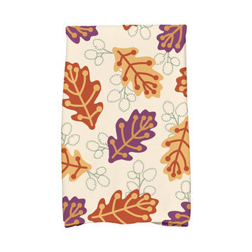 Mercury Row Flipping for Fall Retro Leaves Floral Print Hand Towel Color: Purple