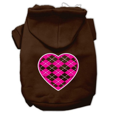 Mirage Pet Products Argyle Heart Pink Screen Print Pet Hoodies Brown Size XL (16)